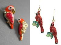 E535 BETSEY JOHNSON Red Parrot Parakeet Gem Lorikeet Macaw Bird Earrings