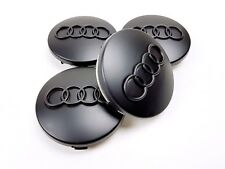 AUDI A3 A4 A6 A8 TT 4X NEW ALLOY WHEEL CENTRE HUB CAPS MATT BLACK 60MM 4B0601170