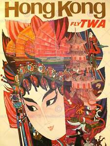 TRAVEL HONG KONG PAINTING SHIPS FACE TRADITIONAL ART PRINT POSTER CC1965