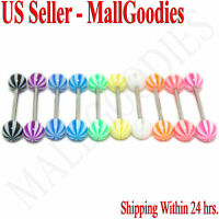 W054 Acrylic Tongue Rings Bars Barbells Stripes Shape Design LOT of 10 colors