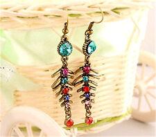 Vintage Art Deco colourful crystal fish bone earrings