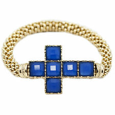Trendy Goldtone Lapis Blue Stones Horizontal Cross Stretch Fashion Bracelet New