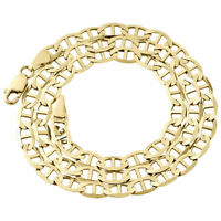 Real 10K Yellow Gold Solid Flat Mariner Chain 6mm Necklace Plain 18-30 Inches