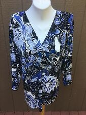 New Chico's Travelers Tropical Mix Blue White & Black Top Size 3 = XL 16 18 NWT