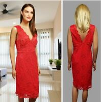 NEW LOOK SIZE 16 DRESS RED LACE PENCIL LINING SLEEVELESS STRETCH MIDI #32