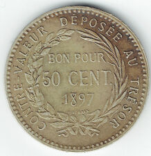 MARTINIQUE 1897 50 CENTIMES (KM#40) CH XF SCARCE THIS NICE
