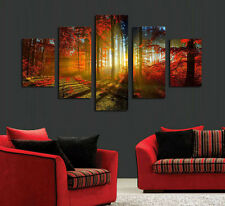 Modern Abstract Oil Painting Wall Decor Art Huge Forest sunset maroon landscape