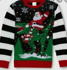 SANTA CLAUS RIDING DINO UGLY CHRISTMAS SWEATER YOUTH BOY SZ MEDIUM