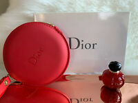 DIOR BEAUTE RED TROUSSE ROUND POUCH / BAG W/ Hypnotic Poison 5ml/.17oz ~ NIB