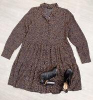 Tunic Dress NEW Size 18 Navy Mustard Spot Mix Long Sleeve Collar Button Down
