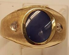 ESTATE BEAUTIFUL RING 10k GOLD BLUE STAR SAPPHIRE WITH 2 DIAMONDS RING SIZE 9