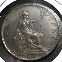 1898 GREAT BRITAIN VICTORIA ONE PENNY SCARCE HIGH GRADE COIN