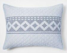TWO THRESHOLD Blue Chambray Stitch Pillow Shams ~ Standard ~ Blue NEW