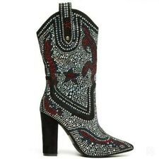 Mid Calf Boots Multi Crystal Fashion Women Block Heel Pointed Pull On Nightclub