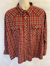 Wrangler Mens 3XL XXXL Pearl Snap Western Shirt Cowboy Long Sleeve Plaid Red