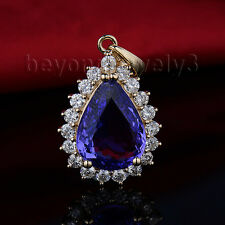 Solid 14Kt Yellow Gold Diamond Engagement Wedding Tanzanite Gemstone Pendant