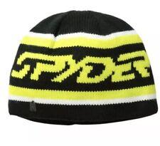 NEW $30.00 Spyder Mens Upslope Knit Ski Cap Hat Beanie Black Yellow One Size
