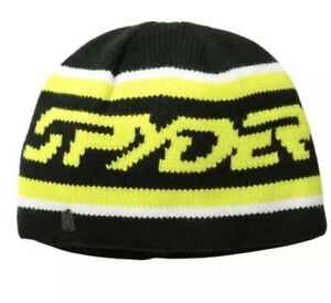 NEW $30.00 Spyder Mens Upslope Knit Ski Cap Hat Beanie Black Yellow One Size