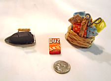 Miniature Vintage Laundry Sewing Set. Laundry Soap Iron and Stand Sewing Basket