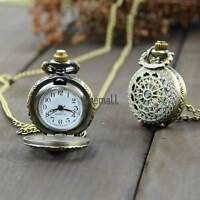 Retro New Vintage Bronze Steampunk Quartz Necklace Pendant Chain Pocket Watch LM