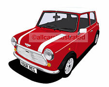 ROVER MINI COOPER CAR ART PRINT (SIZE A3). PERSONALISE IT!
