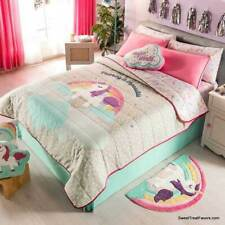 Unicorn Rainbow Comforter Bedding 3PC Bedspread TWIN Decoration Kids Horse Pink
