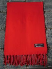 100% Cashmere Scarf PURE RED Solid Made in Scotland SOFT Warm NEW