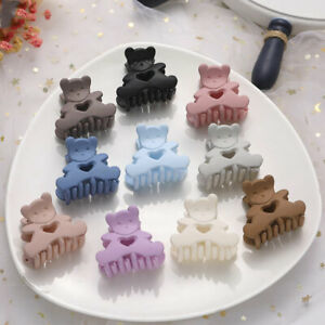 Fashion Korean Solid Color Matte Small Hair Claw Transparent Candy Bear Hairpin