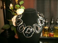 necklace black agate  925 Silver plated Cleopatra cluster adj.