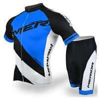 Merida Road Bike Clothing Cycling Set Reflective Cycle Jersey Shorts Kit Blue
