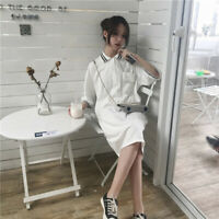 Summer Korean Dress Women Casual Short Sleeve Fashion Loose Solid Striped Dres*