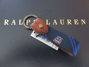 Polo RALPH LAUREN Polo Silk Tie Crest Key Chain Keychain Key Ring FOB
