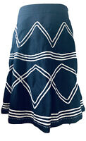 Per Una Navy Blue Linen A-Line Midi Skirt Geometric Embroidery Lined Size 16