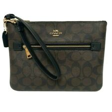 COACH Gallery Pouch In Signature C Canvas Wristlet Wallet F79896 Brown/Black NWT