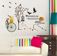 Bicycle Tree Branches Birdcage Wall Stickers Vinyl Autumn Leaves Wall Decal Art