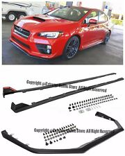 For 15-Up Subaru Impreza WRX STi V-LIMITED Front Lip W/ JDM Side Skirt Extension
