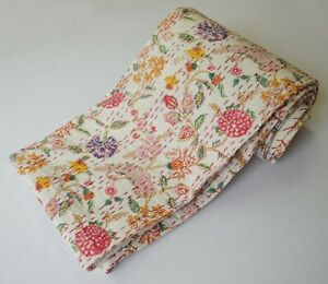 Beautiful Pink Leafy Print Ethinic Kantha Quilt Twin Size Blanket Bedding Cover