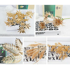 Luxurious Gold Artificial Flower Leaf Plant Branch DIY Wedding Party Home Decor