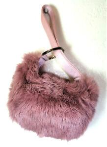 GUCCI Lilac Rabbit Fur Wristlet Tiny Hand Bag Clutch Purse