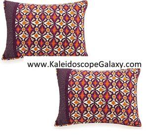 VERA BRADLEY Geo Water Orange Maroon Purple 2 x Standard Pillow Shams