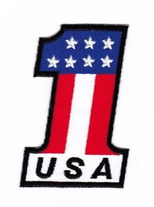 Ak32 Number 1 USA Flag Sew-On Iron-On Application DIY Patch 2x3 3/16in
