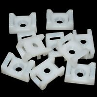 PACKS OF NATURAL WHITE CABLE / ZIP TIE MOUNTS SCREW IN FIXING FOR TIES UP TO 8mm