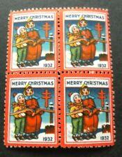 Us-1932-Block of 4 Christmas Seals-Mh Good gum Cinderellas