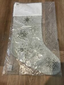 Pottery Barn Christmas Snowflake Embroidered New With Tags Ivory