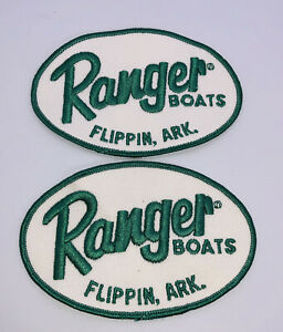Lot of 2 VINTAGE Ranger Bass Fishing Boats Patches Green White 4 3/4 x 3 1/4