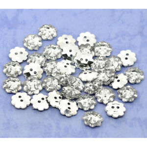 25 Acrylic Sewing Buttons 2 Holes Flower Clear & Silver Plated Faceted 13mm