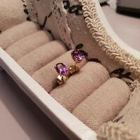 Beautiful Moroccan Amethyst stud earrings in 14k Gold over Sterling Silver