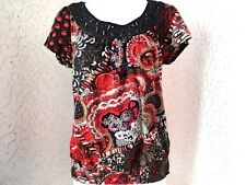 Lucky Brand Ladies Small Floral Boho Red Black Short Sleeve Shirt Top Cotton