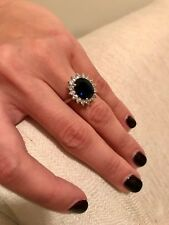 Certified 3.48 Ct Natural Diamond Blue Sapphire Gemstone Rings 14K White Gold