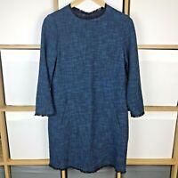 LK Bennett Blue Mix Wren Tweed Shift Tunic Dress Size UK 10 VGC